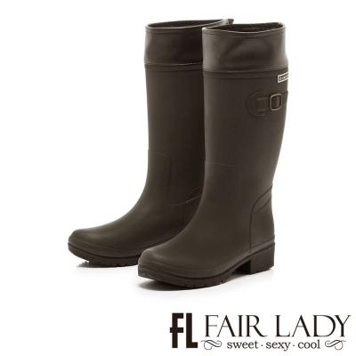 Fair Lady 注目飾扣2WAY騎士風雨靴 咖