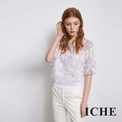 ICHE 衣哲 氣質蕾絲雕花短版百搭造型上衣