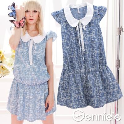 【Gennie's奇妮】學院風圓領水藍荷葉邊春夏孕婦上衣-水藍(G1316)