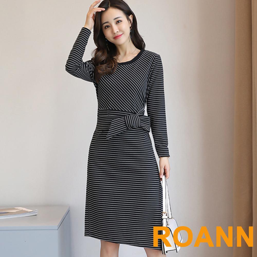 圓領條紋拼接縷空蕾絲長袖洋裝 (黑色)-ROANN