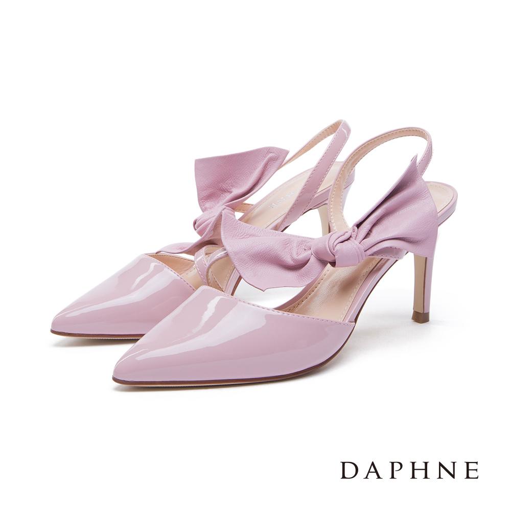 達芙妮DAPHNE 高跟鞋-立體蝴蝶結綁飾後拉帶尖頭鞋-粉