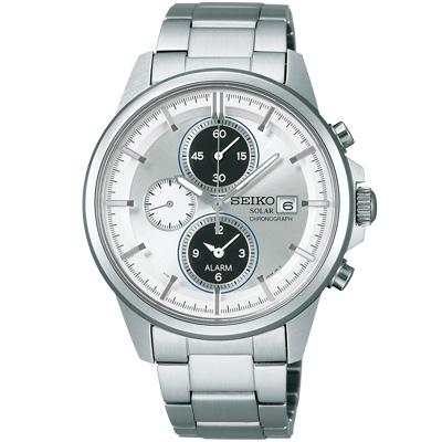 SEIKO SPIRIT 太陽能時尚科技鬧鈴碼錶(SBPY065G)-銀/40mm