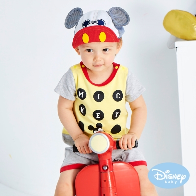 Disney baby 歡樂圈圈米奇連身裝 黃色