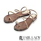 Fair Lady 低調奢華水鑽繞帶穿趾涼鞋 卡其