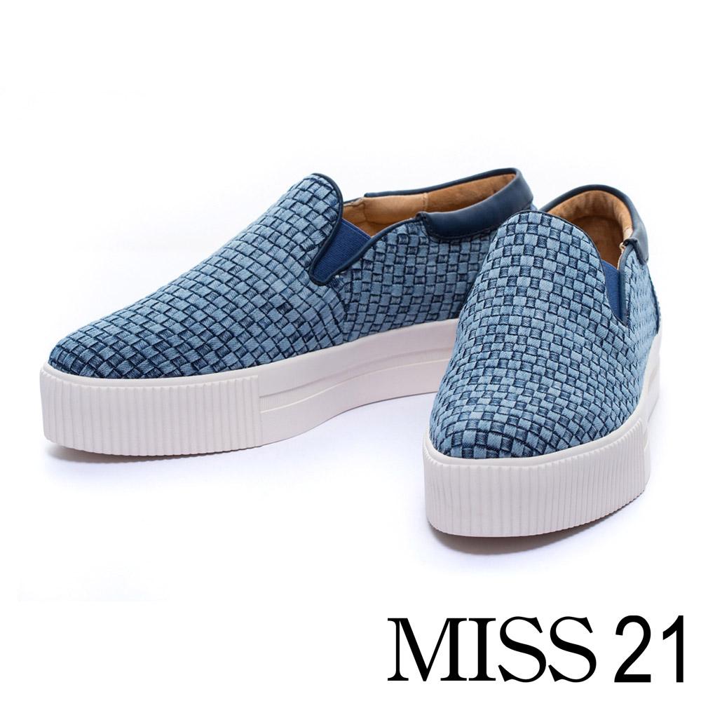 MISS 21 雙色牛仔編織布厚底休閒懶人鞋-藍