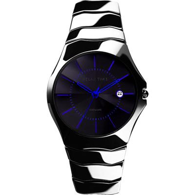 Relax Time 時尚藍寶石陶瓷腕錶-黑x藍時標/36mm