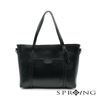 SPRING- 清新時尚兩用側肩包-黑