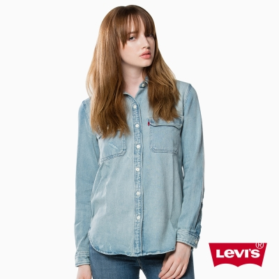 Levis 丹寧長袖襯衫 雙口袋 淡藍色