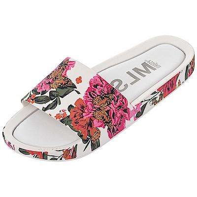 Melissa 彩繪春天印花時尚拖鞋-白色