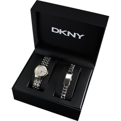 DKNY 紐約名模時尚套錶-銀/34mm
