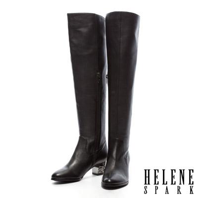 HELENE-SPARK-金屬造型跟-全真皮美型過膝長靴-黑羊皮