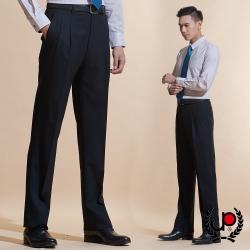 極品西服 品味暗紋緹花毛料雙褶西褲_黑色(BW601-2)