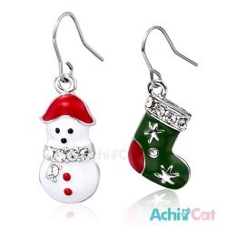AchiCat 不對稱耳環耳勾式 夢幻聖誕