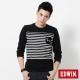 EDWIN W貼袋條紋長袖T恤-男-黑色