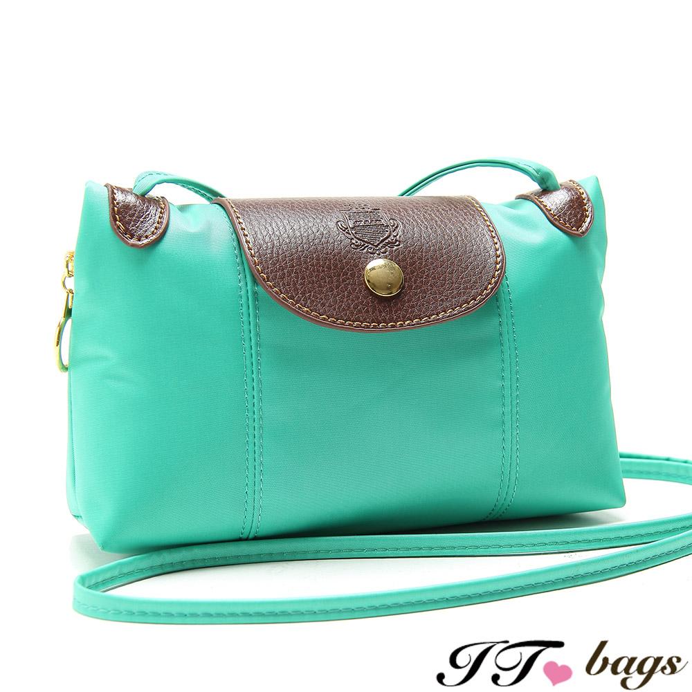 It Bags品牌經典輕量尼龍隨身小肩包 湖水綠(快)
