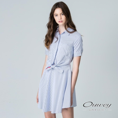 OUWEY歐薇 俏皮簡約條紋抓腰洋裝(藍)
