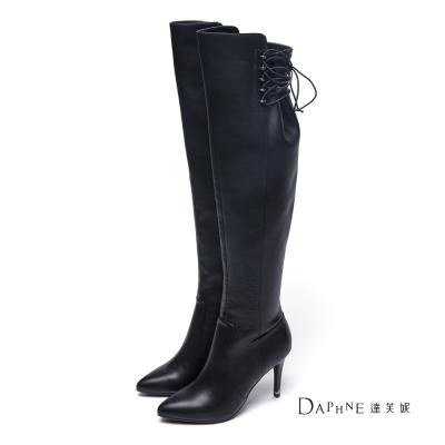 達芙妮DAPHNE-長靴-後綁帶拼接高跟過膝靴-黑