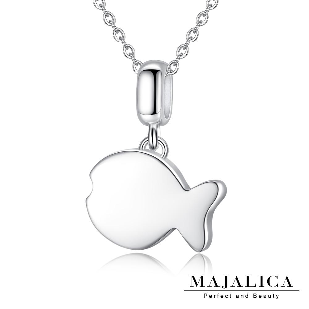 Majalica魚仔項鍊925純銀墜銀色女鍊