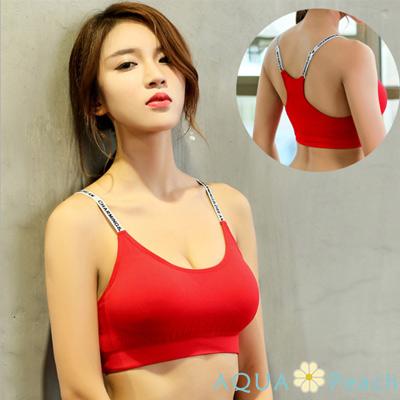 運動內衣 字母肩帶抽褶設計內衣 (紅色)-AQUA Peach