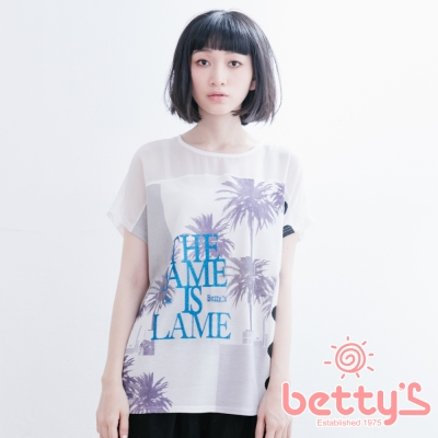 betty's貝蒂思 肩膀透膚雪紡椰子樹剪影上衣(白色)