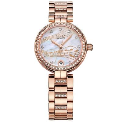 FIYTA飛亞達 心弦系列機械錶(DLA869001.PWPH)-玫瑰金色/32mm