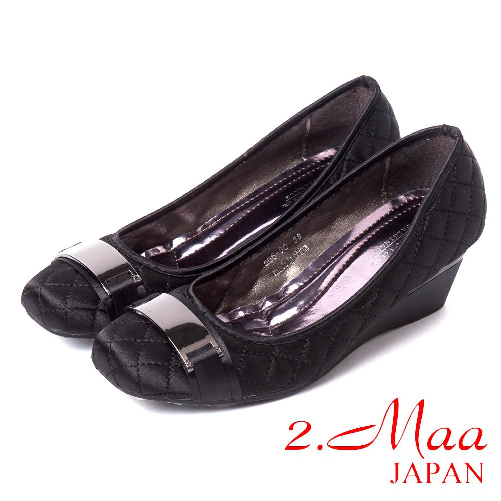 2.Maa名媛最愛-時尚菱格紋金屬方框楔型包鞋-沉穩黑