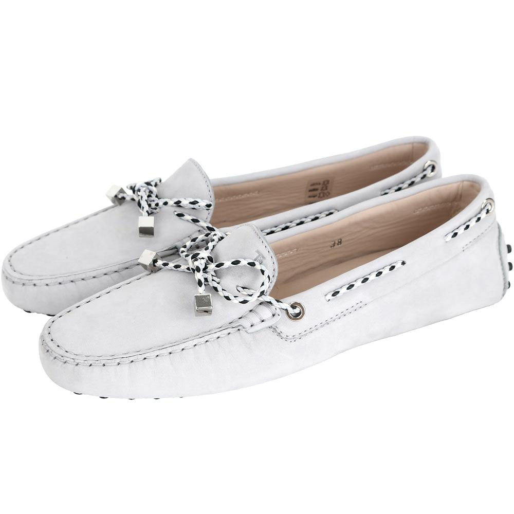 TOD'S Gommino Driving 撞色編織綁帶豆豆休閒鞋(淺灰色)