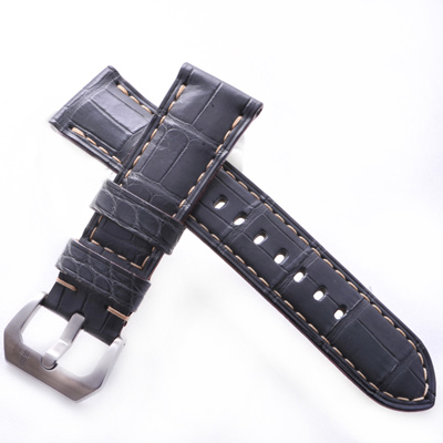 TED SU 太和錶帶 巨石陣Panerai 沛納海代用帶鐵灰鱷米色線-24*22mm
