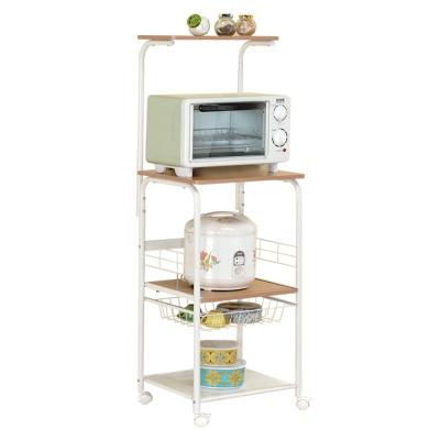 百變王 多功能附輪電器木質拉籃款烤箱架/微波爐