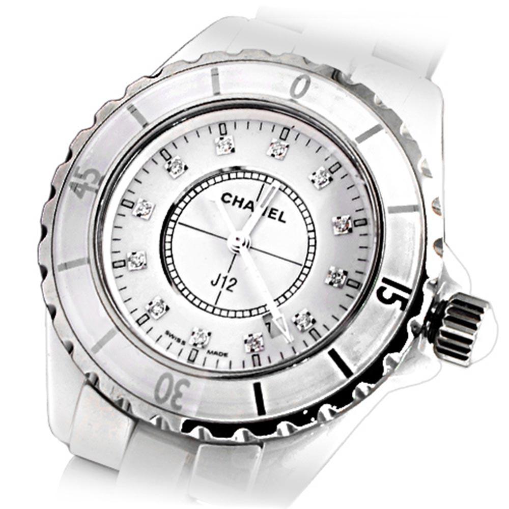 CHANEL 香奈兒 J12 H1628 陶瓷12顆鑽石英錶-白/33mm