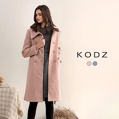 東京著衣-KODZ 歐美質感顯瘦大翻領設計大衣外套-S.M.L(共二色)