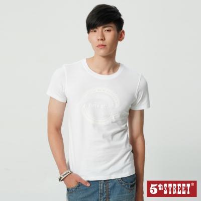 5th STREET LOGO植絨印花T恤-男-白色
