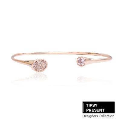 微醺禮物 韓製 鋯石 鍍16K金 時尚仿密釘鑲+單鑽 開口式 手環