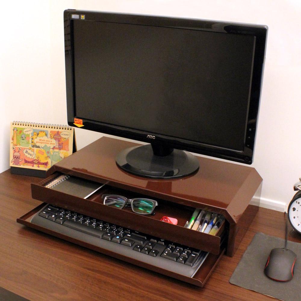 頂堅 鐵板製桌上型-鍵盤+抽屜-螢幕架(二色可選)