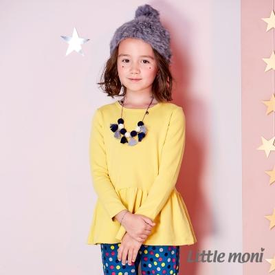 Little moni氣質素面荷葉襬上衣 (共2色)