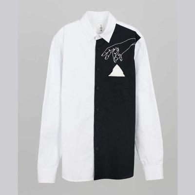 摩達客-韓國進口EXO合作設計品牌DBSW Pickpocket趴手黑白時尚純棉襯衫