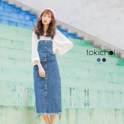 東京著衣 前排釦牛仔吊帶長裙-S.M.L(共二色)