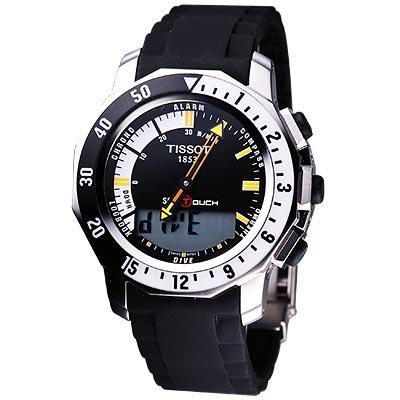 TISSOT SEA-TOUCH 怒海潛將觸控潛水錶(黑)-44mm
