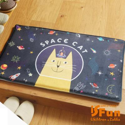 iSFun 貓咪太空人 療癒動物絨毛腳踏地墊40x60cm