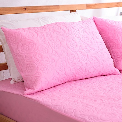 eyah宜雅 吸濕排汗大和防蹣抗菌雙效 信封式枕頭保潔墊2入(公主粉)