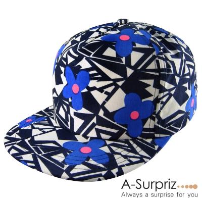 A-Surpriz 幾何花朵塗壓撞色棒球帽(休閒藍)
