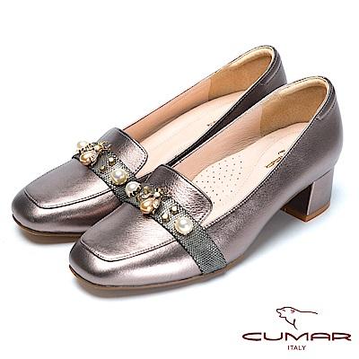 CUMAR時尚品味別緻珍珠裝飾粗跟鞋-錫