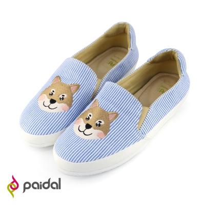 Paidal柴犬立體電繡平底休閒鞋樂福鞋懶人鞋-天空藍