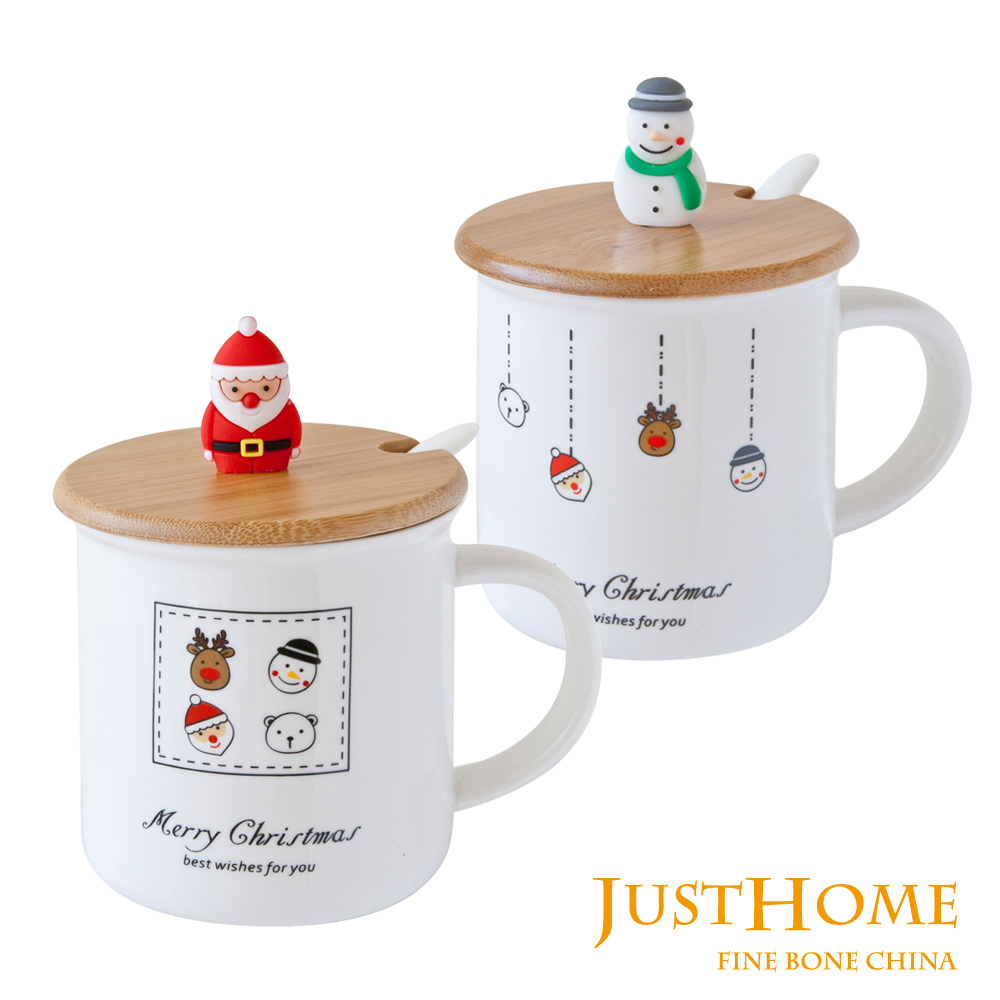 Just Home幸福聖誕陶瓷附蓋附匙馬克杯380ml 2入組