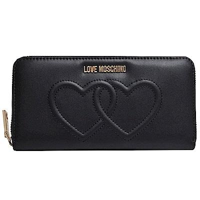 Love Moschino 金色字母LOGO壓印雙愛心圖騰拉鍊機能長夾(黑/紅)