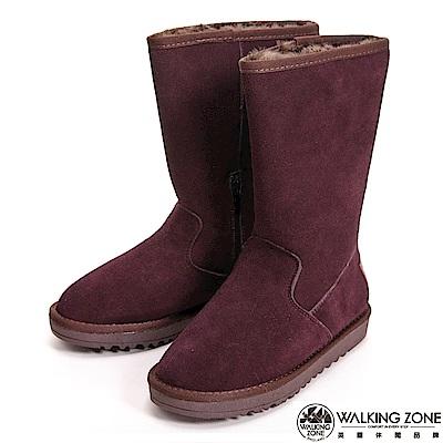 【WALKING ZONE】暖暖內刷毛拉鍊造型高筒 女雪靴-咖(另有灰)