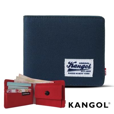 KANGOL 韓式潮流 多夾層/零錢袋橫式短皮夾+鑰匙圈禮盒-帆布撞色藍