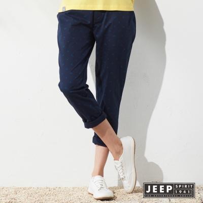 JEEP 女裝 夏日海洋滿版海星造型休閒長褲 (深藍)