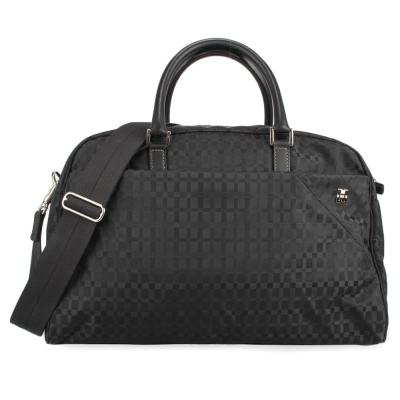 DAKS方格織紋肩提兩用旅行包-黑色