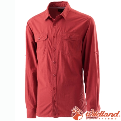 Wildland 荒野 W1202-07酒紅 男 可調節抗UV襯衫